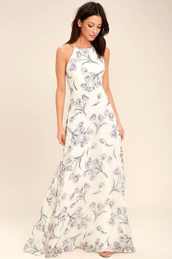 Adventure Seeker Cream Floral Print Maxi Dress 1