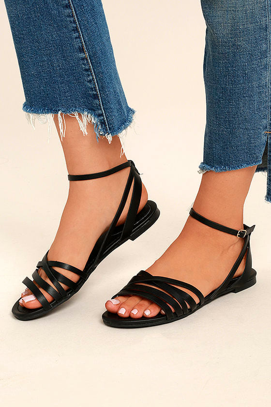 9c76da9c90c Cute Black Ankle Strap Heels - Black Flat Sandals - Strappy Black Sandals -   19.00