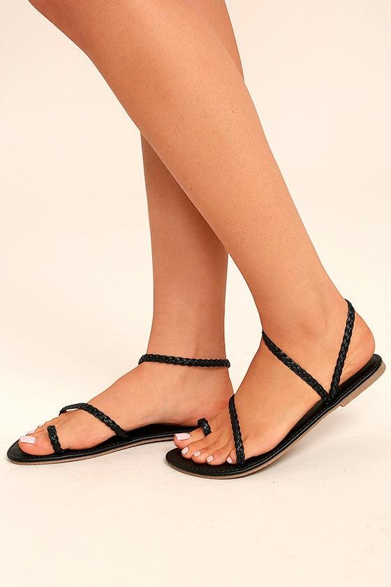 Mirela Black Flat Sandals 1