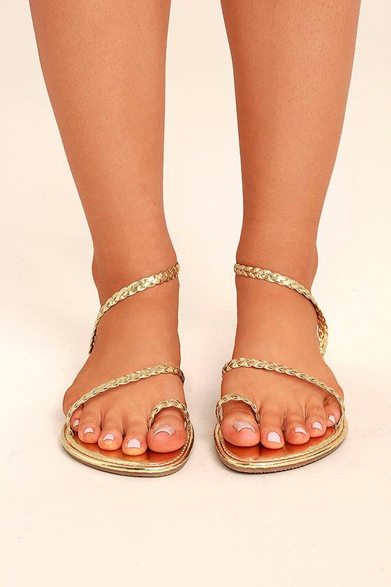 Mirela Gold Flat Sandals 3