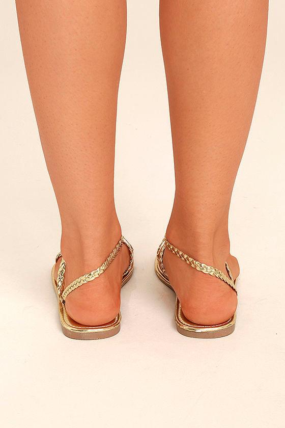 Mirela Gold Flat Sandals 4