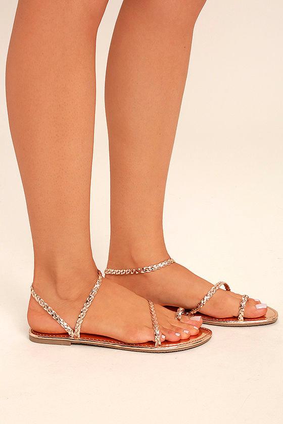 Boho Sandals - Rose Gold Sandals - Flat Sandals - Toe Loop Sandals - $17.00