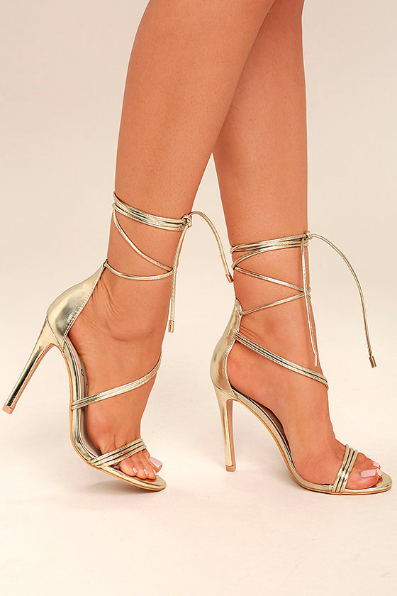 98ce18a7a02 Sexy Gold Heels - Lace-Up Heels - Single Sole Heels -  39.00