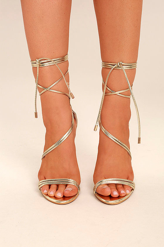 Ameerah Gold Lace-Up Heels 2