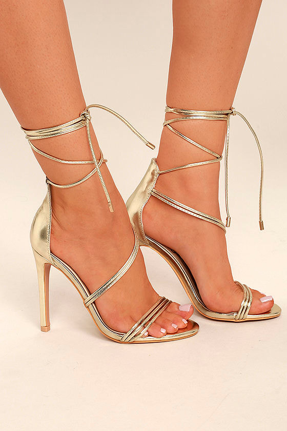 Ameerah Gold Lace-Up Heels 3