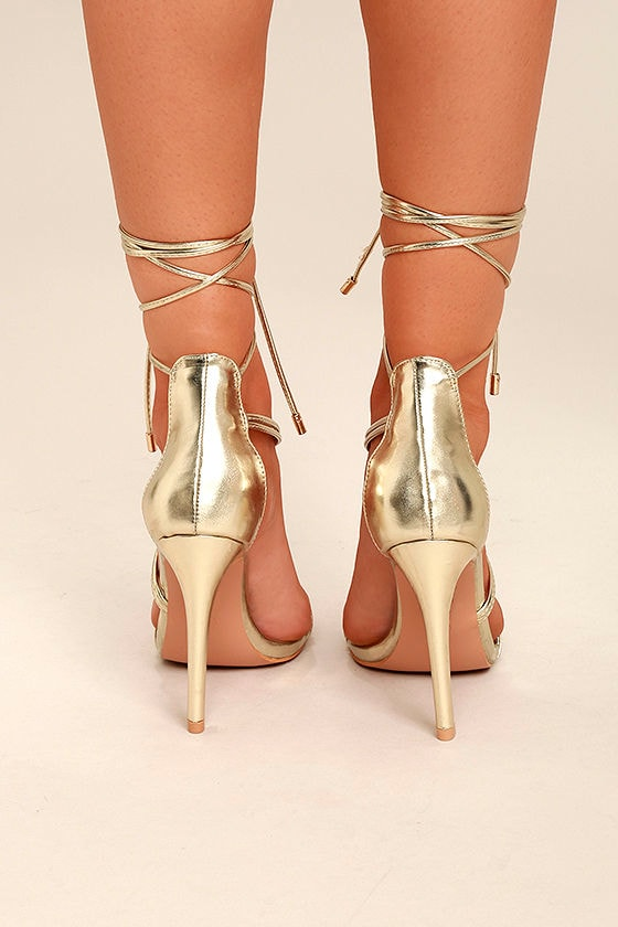 Ameerah Gold Lace-Up Heels 4