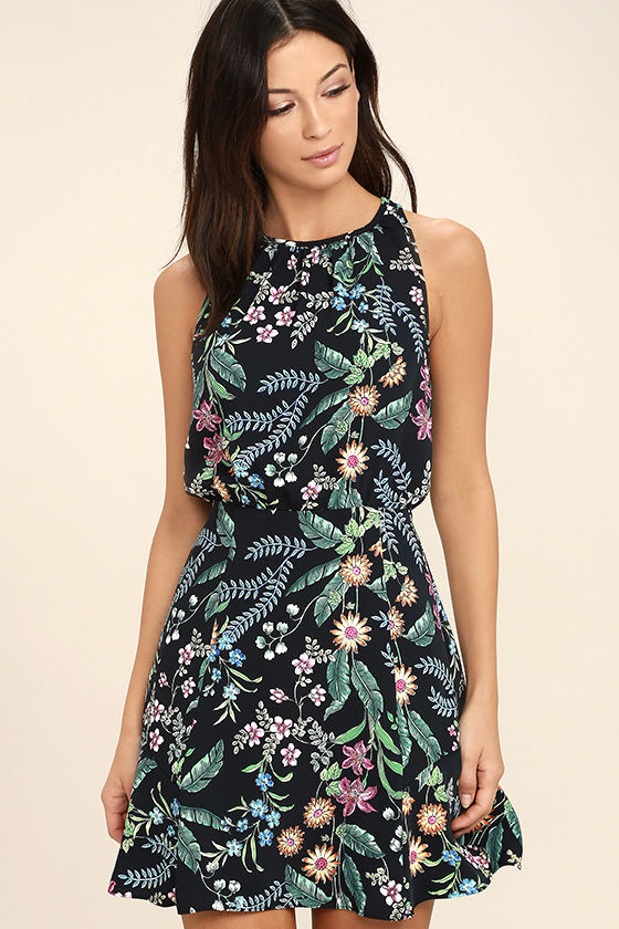 Take Me Oasis Black Floral Print Skater Dress 1