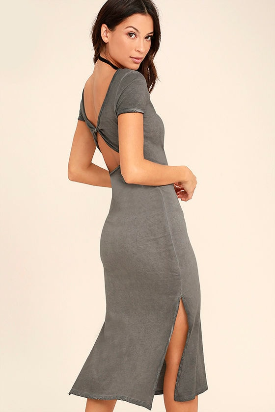 Just You Washed Grey Backless Midi Dress 1
