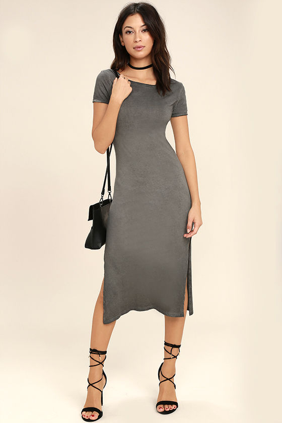 Just You Washed Grey Backless Midi Dress 2