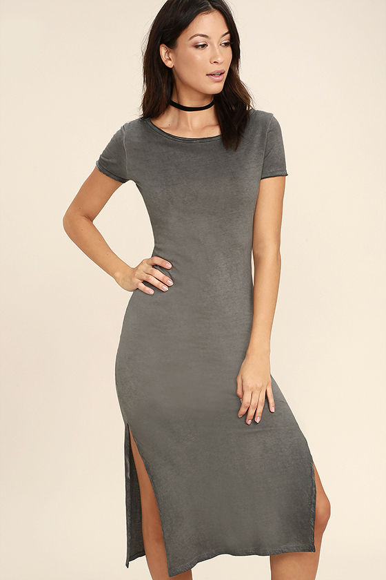 Just You Washed Grey Backless Midi Dress 3