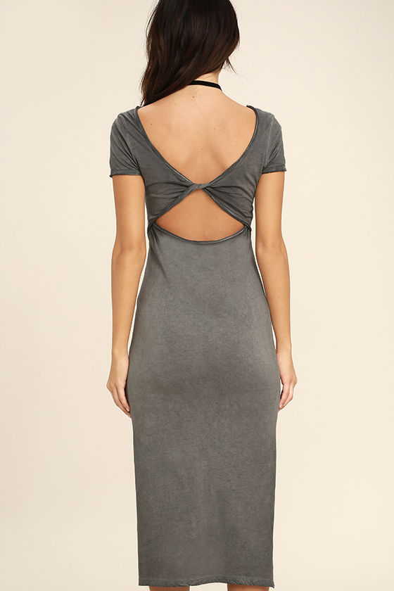 Just You Washed Grey Backless Midi Dress 4