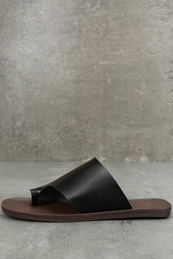 9ce21a3eb46 Blowfish Dalla Sandals - Black Slide Sandals - Toe Loop Sandals -  42.00