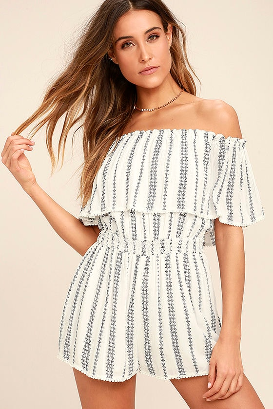 See Ya There White Print Off-the-Shoulder Romper 1