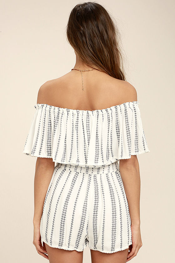 See Ya There White Print Off-the-Shoulder Romper 4