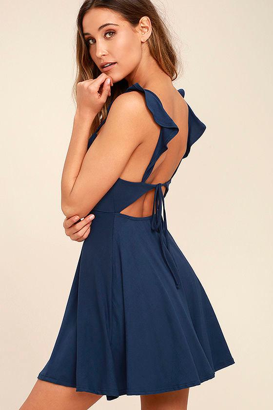 Sweeter Than Sugar Navy Blue Backless Skater Dress 1