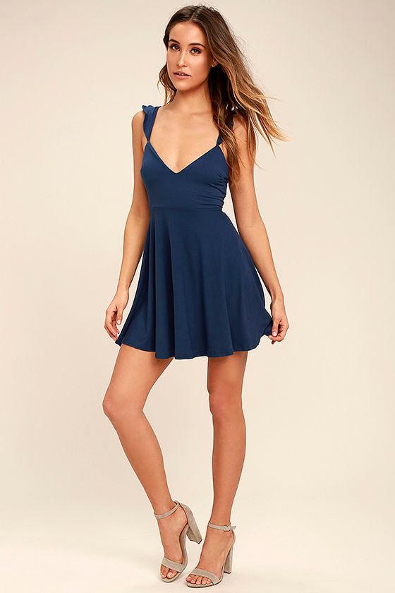 Sweeter Than Sugar Navy Blue Backless Skater Dress 2