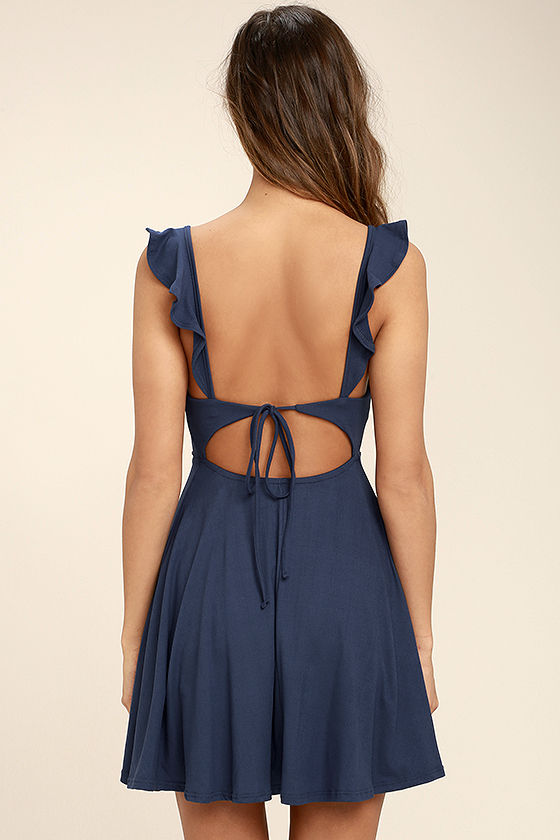 Sweeter Than Sugar Navy Blue Backless Skater Dress 4