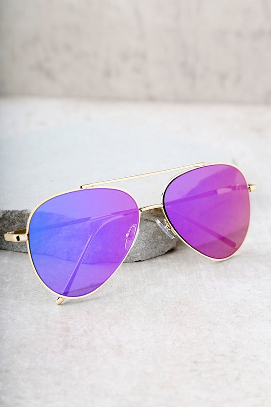 Perverse Bronson Gold and Purple Mirrored Aviator Sunglasses 2