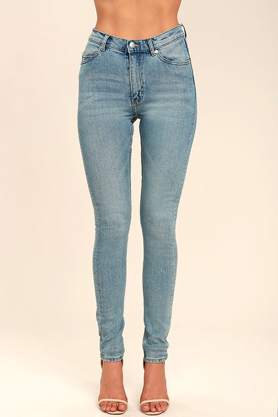 Cheap Monday Second Skin Light Blue High-Waisted Skinny Jeans 2