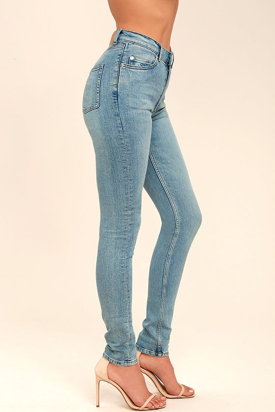 Cheap Monday Second Skin Light Blue High-Waisted Skinny Jeans 3