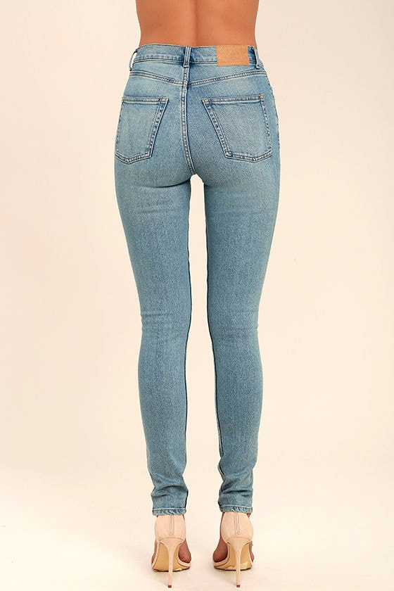 Cheap Monday Second Skin Light Blue High-Waisted Skinny Jeans 4