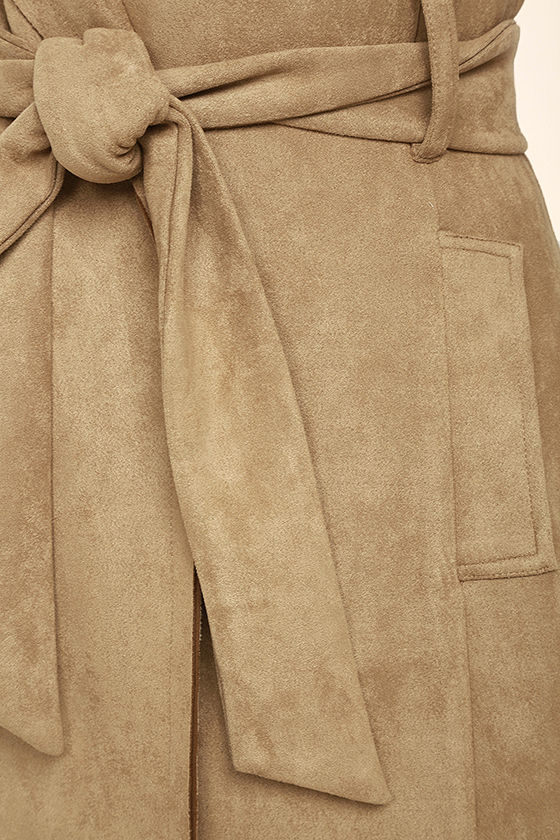 Geneva Light Brown Suede Belted Vest 6