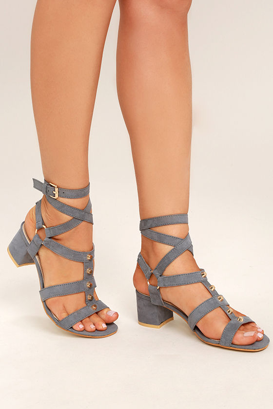 Chic Grey Suede Sandals Gold Studded Sandals Leg Wrap