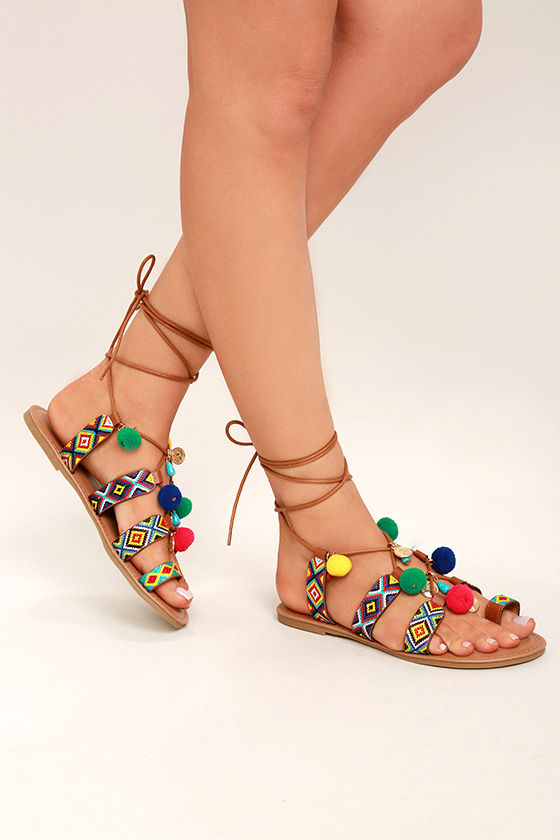 fedcdfbe7b1 Cute Pompom Sandals - Embroidered Sandals - Lace-Up Flat Sandals -  29.00