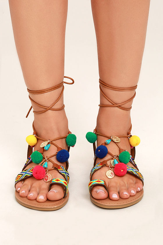 Accalia Whiskey Brown Lace-Up Pompom Sandals 2