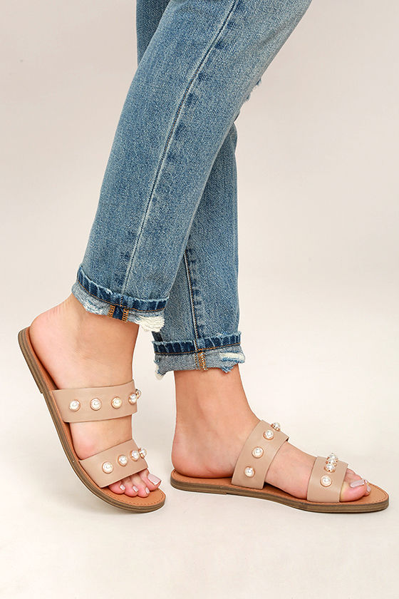 e45db685f69e64 Steve Madden Jole - Nude Sandals - Leather Sandals - Nude Slide ...
