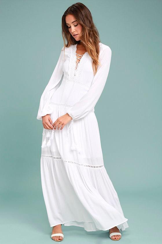 Beautiful White Maxi Dress - Lace Maxi Dress - Lace-Up Dress - $89.00