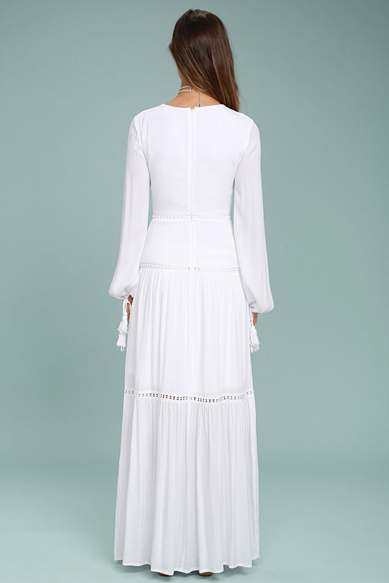 Queen of the Wildflowers White Lace Maxi Dress 4