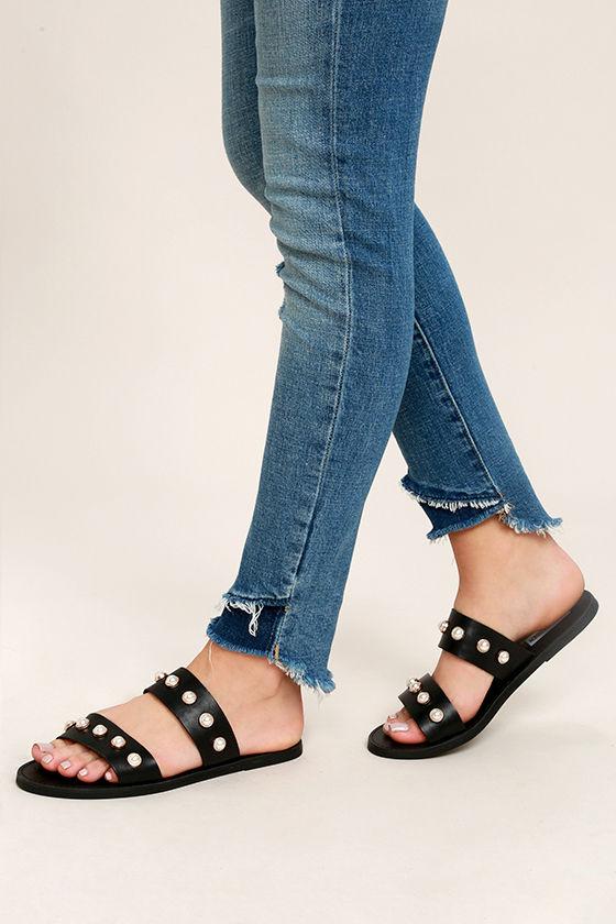 b08fcd102412 Steve Madden Jole - Black Sandals - Leather Sandals - Black Slide ...