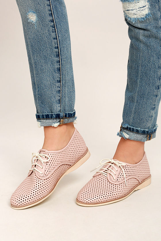 Rollie Derby Punch Chalk Pink Perforated Leather Oxfords 1