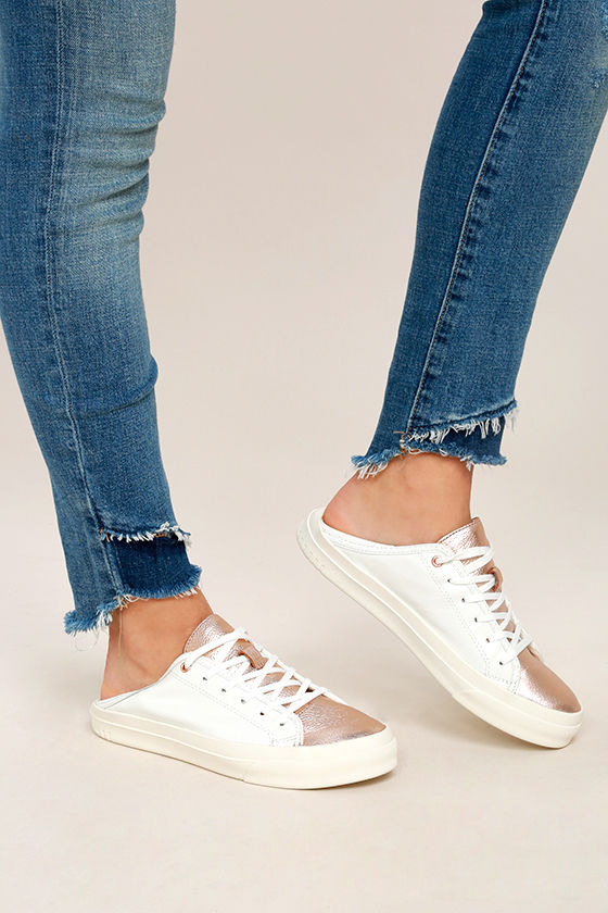 d521a52a0efa8 Steven by Steve Madden Vertue - Rose Gold Sneakers - White Leather Sneakers  - $89.00