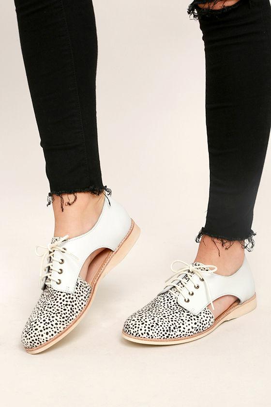 fd89aa9bf10b Rollie Sidecut White Snow Leopard - Leather Oxfords - Pony Fur Oxfords -  $159.00