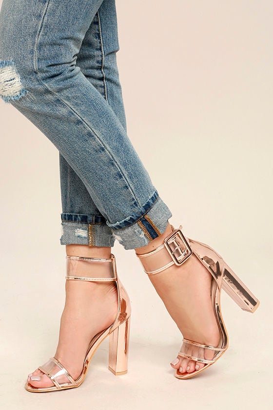 Sexy Rose Gold Heels - Wide Ankle Strap Heels - Lucite Heels -  39.00