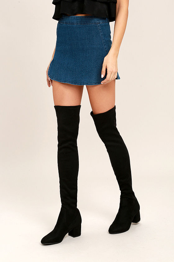 d34c62dbb81 Steve Madden Isaac Boots - Black Suede Boots - Over the Knee Boots