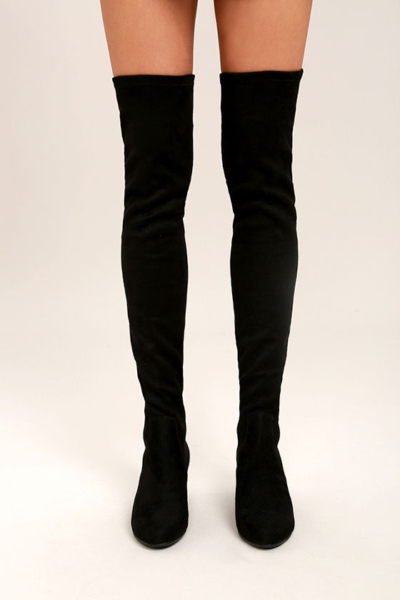 e6b2d8bbca8 Steve Madden Isaac Boots - Black Suede Boots - Over the Knee Boots