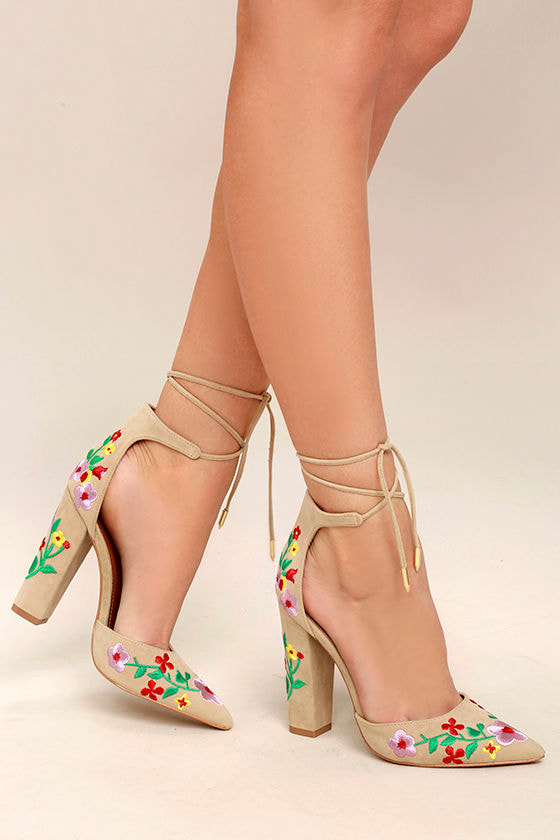 Cute nude heels embroidered heels pointed toe heels lace up 1 ccuart Image collections