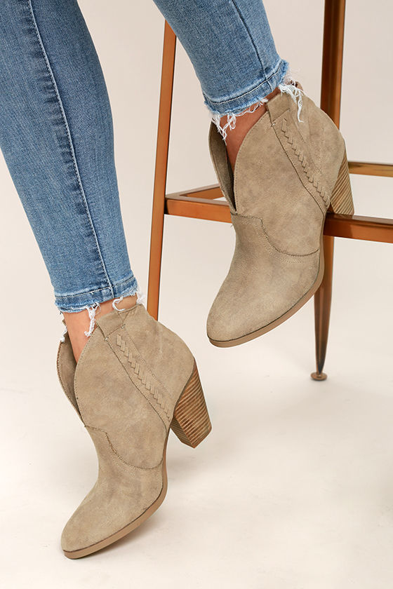 Report Doman Taupe Suede Ankle Booties 1