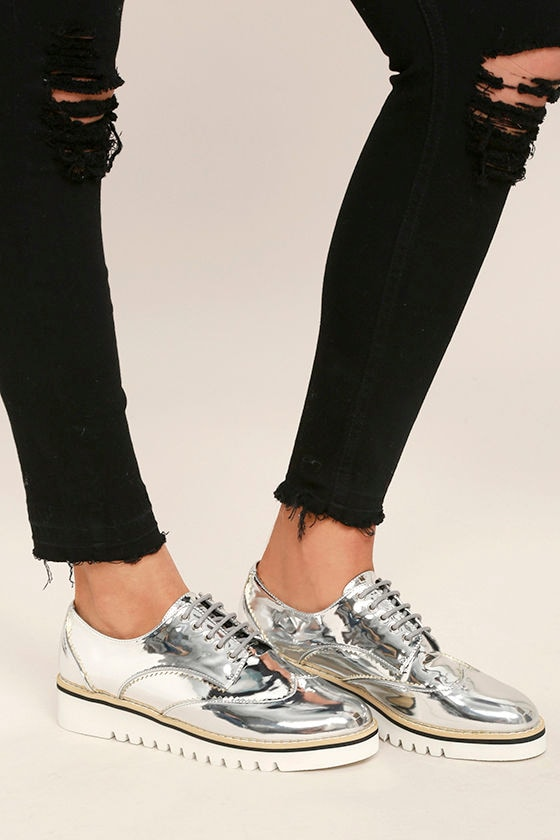 13a5cdab5 Chic Silver Oxfords - Platform Oxfords - Platform Sneakers - Metallic  Oxfords - $47.00