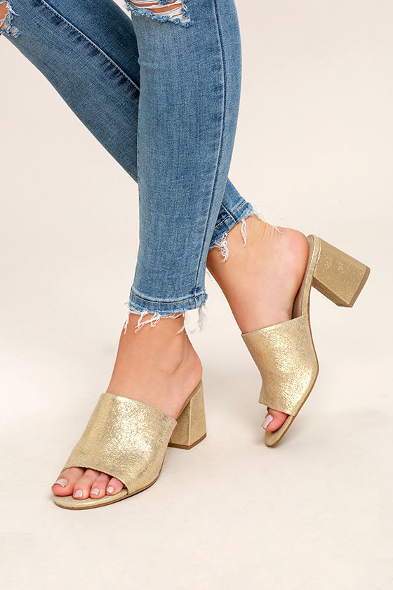 Seychelles Commute Gold Suede Leather Peep-Toe Mules 1