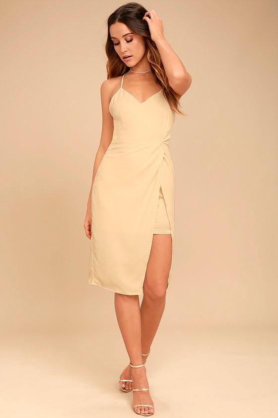Making Eyes At You Beige Midi Dress 1