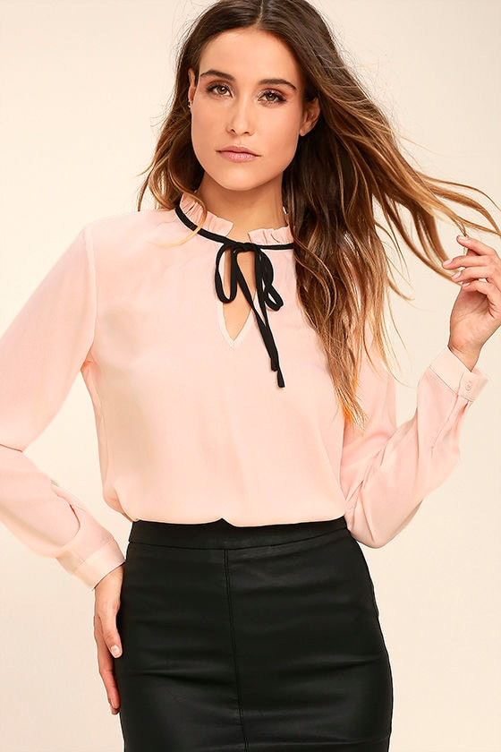 Chic Blush Pink Blouse Long Sleeve Blouse Tie Neck