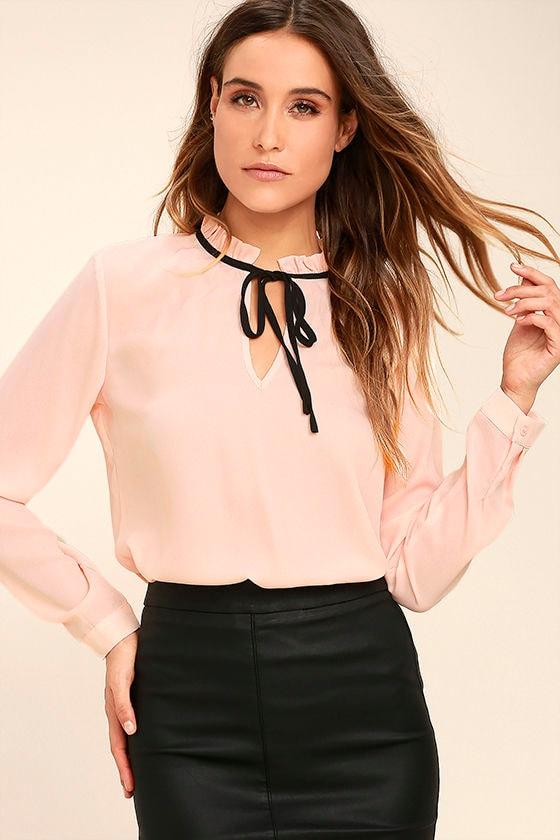 Chic Blush Pink Blouse - Long Sleeve Blouse - Tie Neck Blouse ...
