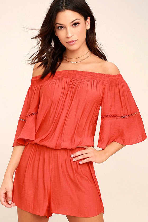 With Feeling Coral Red Off-the-Shoulder Romper 1