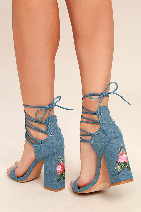 Chic Denim Heels Lace Up Heels Blue Heels 41 00