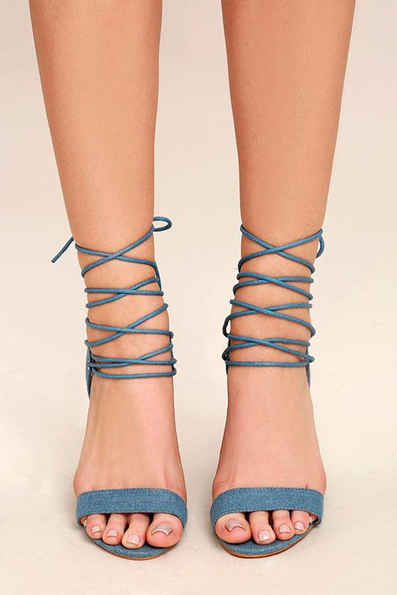Darcia Denim Lace-Up Heels 2