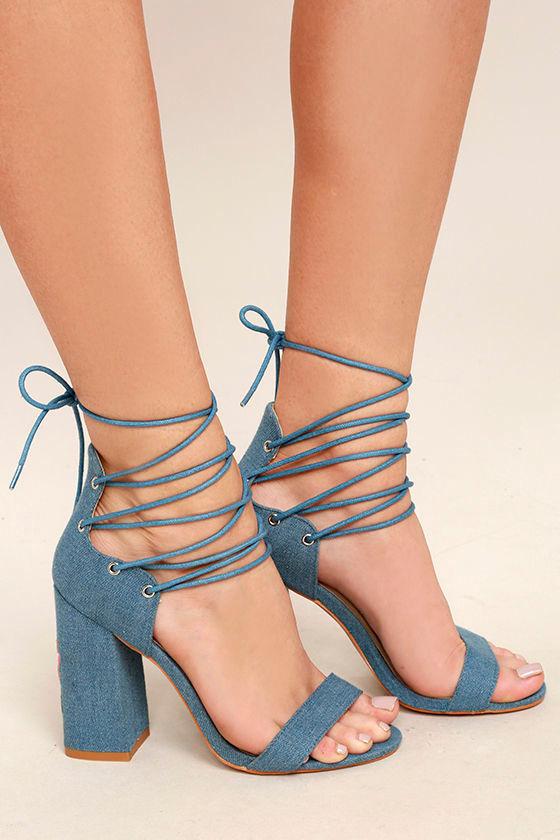 Darcia Denim Lace-Up Heels 3